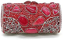 Evening Clutches Bags Metal Crystal Women Evening Hollow Out Rhinestone Classical Opal Long Crystal Clutches (B)