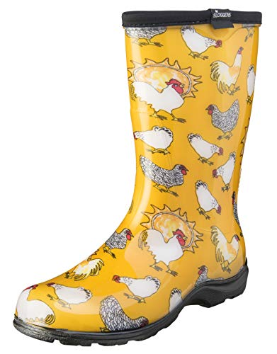 Sloggers Women's Waterproof Rain and Garden Boot with Comfort Insole, Chickens Daffodil Yellow, Size 11, Style 5016CDY11