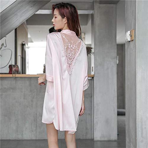 ASADVE Pijamas de Mujer camisón camisón Sexy camisón de satén Pijamas Casuales de Verano-Rosado_SG