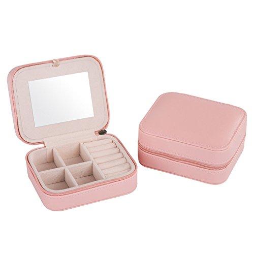 Bluelover Small Faux lederen reisjuwelen Box Organizer Display Opbergtas voor ringen oorbellen ketting met spiegel - roze
