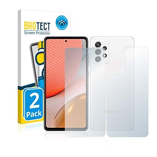 BROTECT Full-Cover Schutzfolie Matt kompatibel mit Samsung Galaxy A72 (Vorder + Rückseite) (2 Stück) - Full-Screen Displayschutz-Folie, Curved