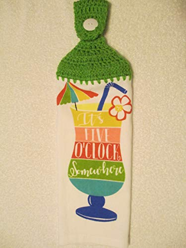 Crocheted It's 5 O'Clock Somewhere Kitchen Towel with Spring Green Yarn