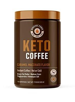Rapidfire Keto Coffee Instant Coffee Mix, Caramel Macchiato Flavor, 7.93 Ounce (255g), 15 Servings