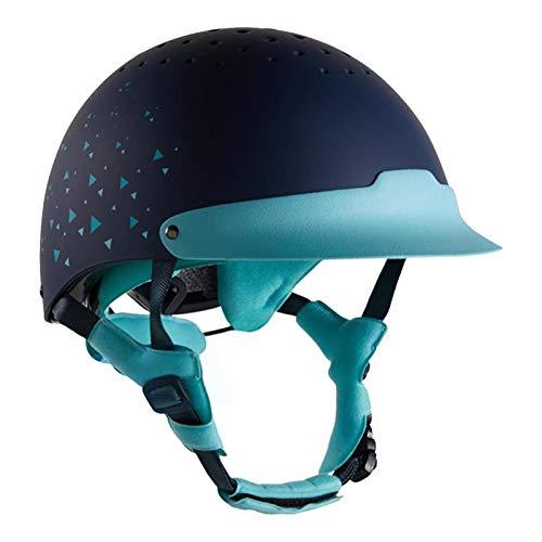 LXFTK Mädchen Reithelme Reitkappe, Kinder-Jugend-Reithelm, höhenverstellbare Montage Professional atmungsaktiv Protektoren Helmet Blue-(53-55cm)