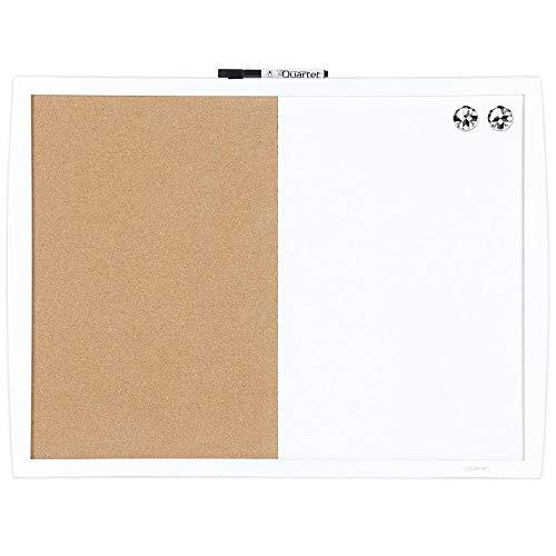 "Quartet Combination Magnetic Whiteboard & Corkboard, 17"" x 23"", Combo White Board & Cork Board, Curved Frame, Perfect for Office & Home Decor, Home School Message Board, White (41723-WT)"