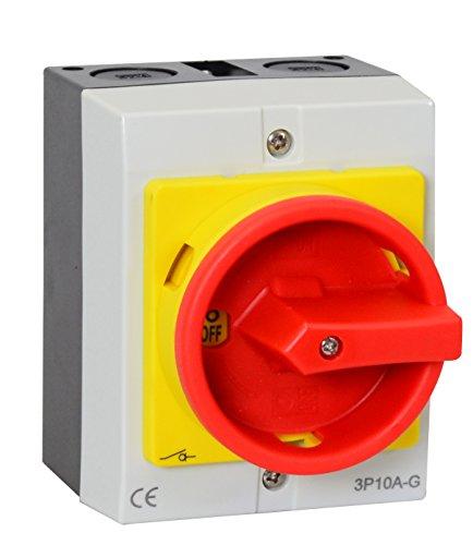 Hauptschalter 16A 4-polig im Gehäuse, Lasttrennschalter, Not-Aus-Schalter, JS4P16A-G…