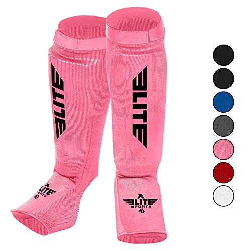 Elite Sports Muay Thai MMA Kickboxing shin Guards, Instep Guard Sparring Protective Leg shin Kick Pads for Kids and Adults (XS, Pink)