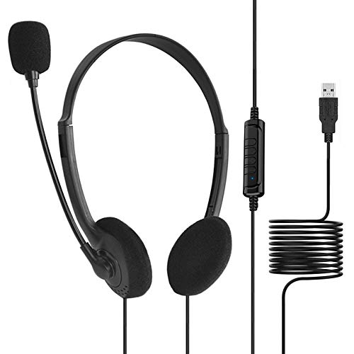 PC Headset, USB Headset Mit Noise Cancelling Mikrofon, Stereo Headset Geeignet Für Skype Webinar Homeoffice Gaming E-Learning Und Musik Call Control,Kristallklar Chat, Super Leicht Und Ultra Komfort