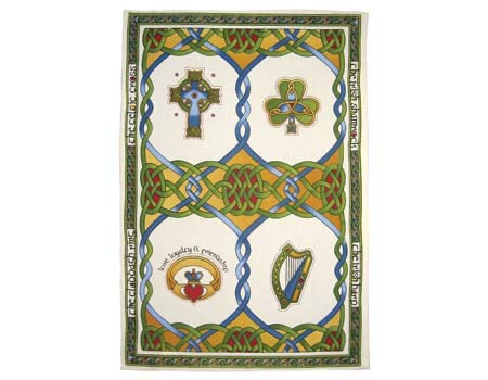 100% Cotton Irish Weave T-Towel Designed With Harp And Ancient Celtic Artwork