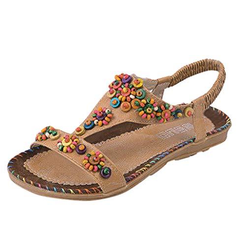 Luckycat Sandalias Planas Verano Mujer Estilo Bohemia Zapatos para Mujer de Dedo Sandalias Talla Grande 36-40 Cinta Elástica Casuales de Playa Chanclas Romanas de Mujer Sandalias de Playa