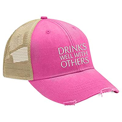 Piper Lou - Drinks Well with Others Trucker Hat with Snapback Enclosure