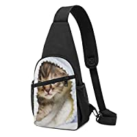 ワンショルダーバッグ メンズ 斜めがけ胸バッグ ボディー肩掛けバッグ 小型手提げバッグ 出張 通勤 通学用 ねこ 猫柄