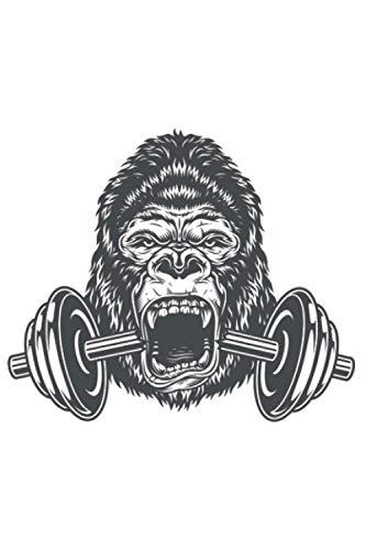 Gorilla mit Hantel für Muskel Sport Kraftsport: DIN A5 Liniert 120 Seiten / 60 Blätter Notizbuch Notizheft Notiz-Block Fitness Gym Workout Training Fitnessstudio Motive