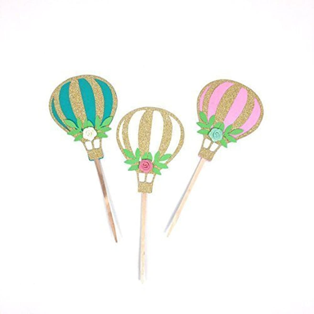 10 pcs Up Up & Away flower roses floral cupcake topper Gold Glitter Hot Air Balloon Toddler boy girl Birthday Baby Shower Wedding Theme