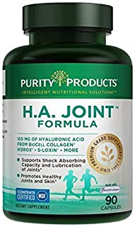 H.A. Joint Formula - Purity Products - Hyaluronic Acid from Purity Products - Joint and Skin Multi Collagen (Type I, II and III) - 90 Capsules - Joint Flexibility and Mobility - 90 Capsules - 3 Pack