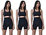 Sexy Basics 3 Pack Hi Waist Tummy Control Slimming Workout Non See-Through Bike Shorts (3 Pack-Black, Small (5))