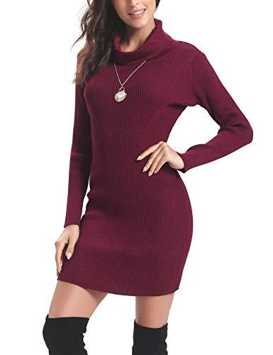 Aibrou Vestido a Punto Suéter Elegante para Mujer Jerséy Clásico para Otoño Invierno,Vestido Jersey Cuello Alto Vino Tinto XL