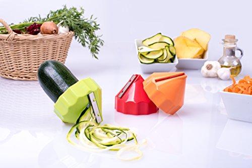 Culinario 3er Set Spiralschneider, Julienneschneider mit Gemüsehalter, Ø 8,3 x 6,6 cm, Kunststoff, Edelstahlklinge, für Scheiben/grob/fein, orange/rot/grün