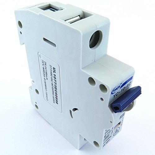 Yuco YC-10-1C Miniature Din Rail Circuit Breaker C Curve 120/277V 50/60Hz 1 Pole (10 Amp)