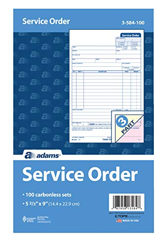 Adams Service Order Form, 3 Part, Carbonless, 5 2/3'X9' Inches, 250 Sets per Pack (3-584)
