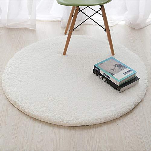 WQ-BBB Teppich Beides Warm Wolldecke Runder, Dicker Wollteppich, 4 Größen, saugfähige, rutschfeste Matte, weiß, 100 cm Einfach zu verstauen Idyllisch Schlafzimmer Wolldecke