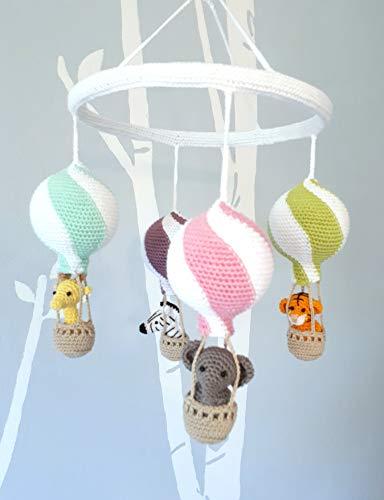 Kindergarten Mobil, häkeln Tiere in Heißluftballons, Baby-Dusche-Geschenk