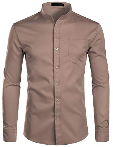 ZEROYAA Men's Banded Collar Slim Fit Long Sleeve Casual Button Down Dress Shirts with Pocket ZLCL09 Tan X-Large