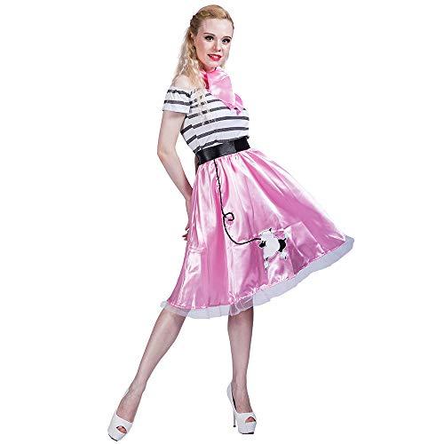 EraSpooky Damen 50er Jahre Pudel Rock Retro Kostüm Faschingskostüme Cosplay Halloween Party Karneval Fastnacht Kleid für Erwachsene