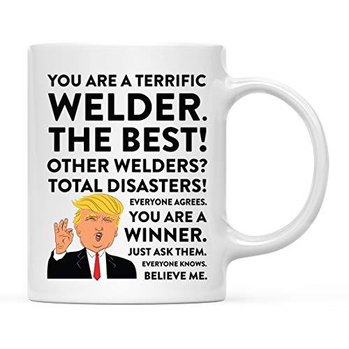 Andaz Press 11oz. Funny President Trump Coffee Mug Gag Gift, Welder, 1-Pack, Includes Gift Box, Christmas Birthday Graduation Novelty Drinking Cup Gift Ideas