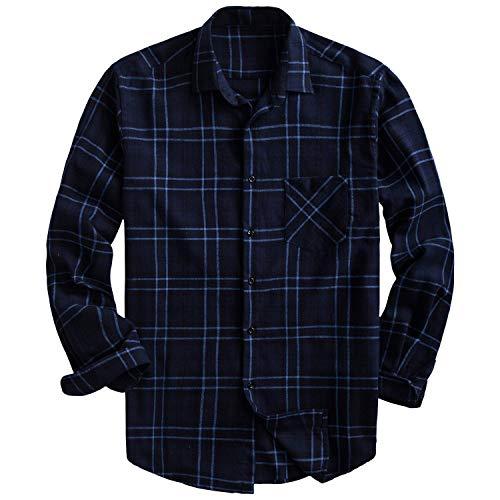 PIZZ ANNU Herren 100% Baumwolle Langarm Kariertes Fleecehemd Button Up Flanellhemd (2XL, DTF09)