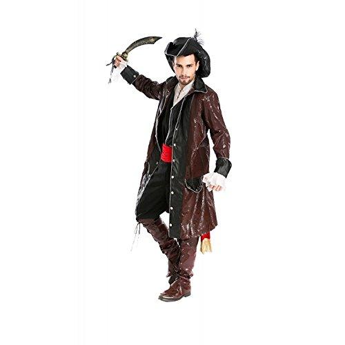 Herren-Kostüm Fluch der Karibik Pirat 4 Karneval Piratenkostüm Jack Sparrow, Größe:L/XL - Deluxe Version