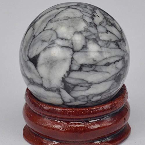 Piedra preciosa natural Cristal de cuarzo rosa Reiki Esfera curativa Bola Masaje Globo de huevo Colección de decoración del hogar, Crisantemo blanco