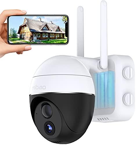 15000mAh Batteria Ricaricabile Telecamera Wifi Interno / Esterno, Mibao 1080P Videocamera Senza Fili , Impermeabile IP65, Visione Notturna, Rilevamento Movimento, Compatibile Con Android / IOS…