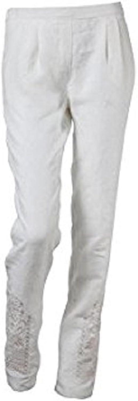 IVKO Peg Leg Linen Pants w Elastic Waist on Back, Off White