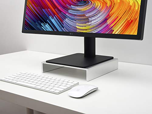 Jokitech Computer Monitor Screen Stand Riser Compatible with New Apple iMac Pro, Samsung, Dell, LG Ultrafine, HP, Asus and Dell Alienware Patent Pending- Silver