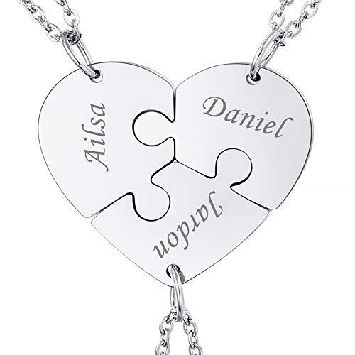 MeMeDIY Collar de Rompecabezas con Colgante de Corazón Personalizado Nombre para Parejas Hombres Mujeres Grabado para Novio Novia Conjunto de Amantes de Joyería para Amor Familiar Amistad (3 Piezas)