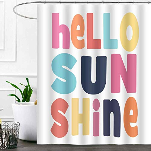 SDDSER Hello Sunshine Shower Curtain Sets, Colorful Character for Children Bathroom Curtains, 72x72 inch with 12 Free Hooks, YLLSSD1928