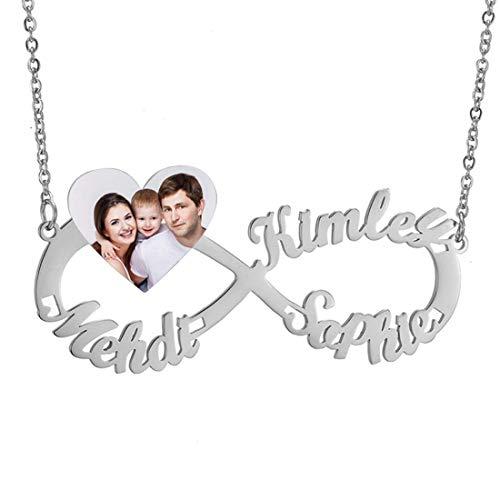 Collar Infinito Nombres Corazón Foto Colgante Personalizado Mujer Hombre Familia Amante de Los Amigos Collares de Oro Plata Rosa Joyería Personalizada Regalo 45cm