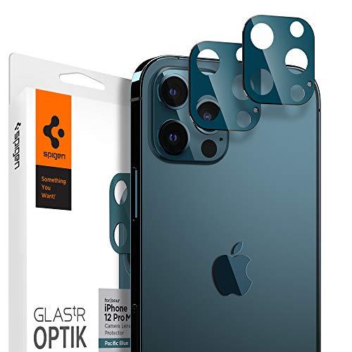 Spigen Glas tR Optik Cámara Lente Protector para iPhone 12 Pro Max Azul Pacifico - 2 Unidades 🔥