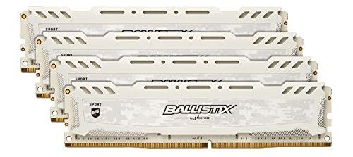 Crucial Ballistix Sport LT BLS4K8G4D240FSC Desktop Gaming Speicher Kit (2400 MHz, DDR4, DRAM, 32GB (8GB x4), CL16) weiß