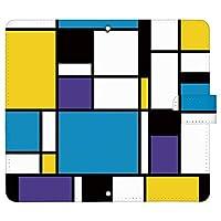iPhone8 ケース [デザイン:2.黄×青×紫/マグネットハンドあり] カラーブロック アイフォン iphone8 手帳型 スマホケース スマホカバー 手帳 携帯 カバー