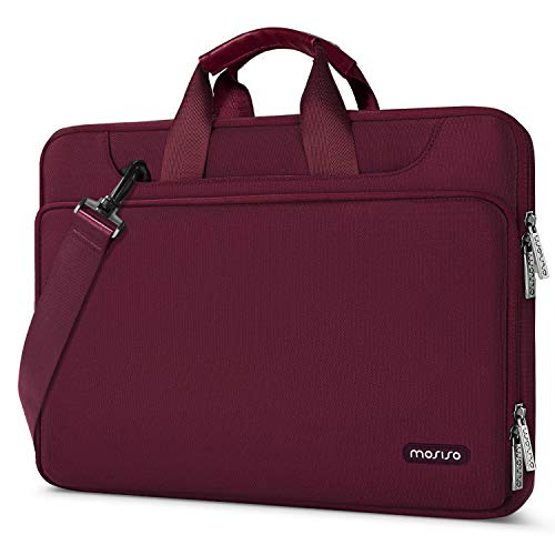 MOSISO 360 Protective Laptop Shoulder Bag Compatible with MacBook Pro 16 inch, 15 15.4 15.6 inch Dell Lenovo HP Asus Acer Samsung Chromebook, Water Repellent Sleeve Case with Trolley Belt, Wine Red