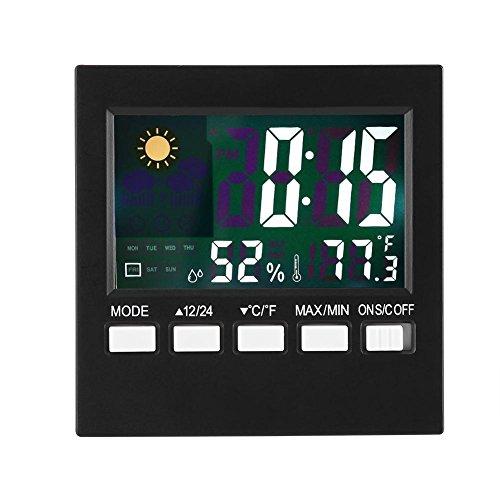 Reloj despertador digital, multifunción Temperatura Humedad Funciones de visualización del tiempo Reloj despertador electrónico con luz de fondo para la decoración de la sala de estar del dormitorio