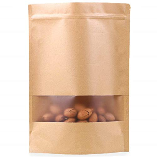 50pcs Kraft Paper Bags with Window Resealable Zip Lock Food Storage Bags Heat Sealable Stand Up Brown Paper Pouches for Cookies Coffee Tea 3.5×5.5in