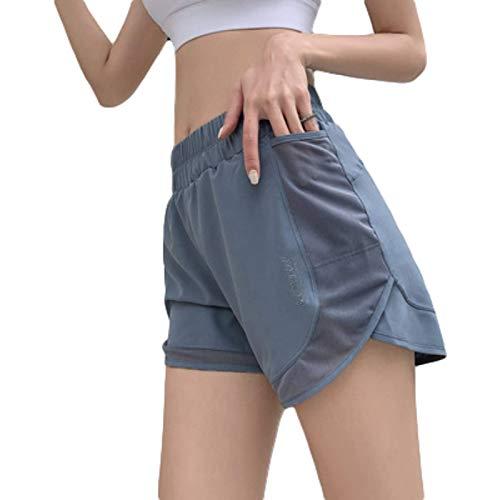Pantalones Cortos Deportivos de Gasa antideslumbrante de Verano para Mujer, Pantalones Cortos Casuales de Secado rápido para Gimnasio, Correr, Fitness, Yoga con Bolsillos X-Large