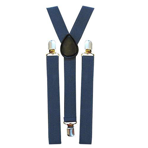 Trimming Shop 25mm Large Unisexe Élastique Porte-Jarretelles Marine - Coloré - Uni Réglable Bretelles pour Pantalon, Jeans et Short