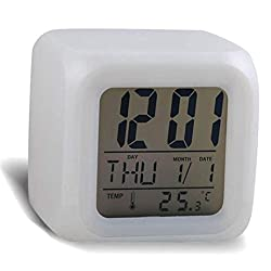DXINXIN Digital Alarm Thermometer Night Glowing Cube 7 Colors Clock LED Change