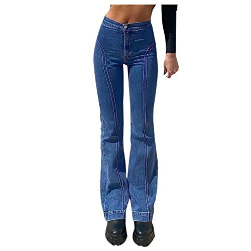 F_Gotal Womens Jeans Bootcut High Rise Stretch Denim Pants Wide Leg Bell Bottom Flare Jegging Sweatpants Plus Size