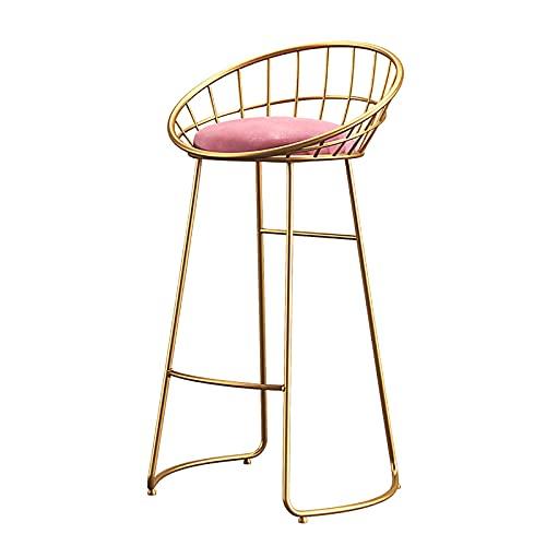 FXBFAG Taburetes de Bar con Respaldo y reposapiés, Asiento de Terciopelo, Patas de Metal Dorado, sillas de Bar para Cocina/Bar en casa/Pub/Comedor, Altura del Asiento 65 cm / 70 cm / 75 cm, c