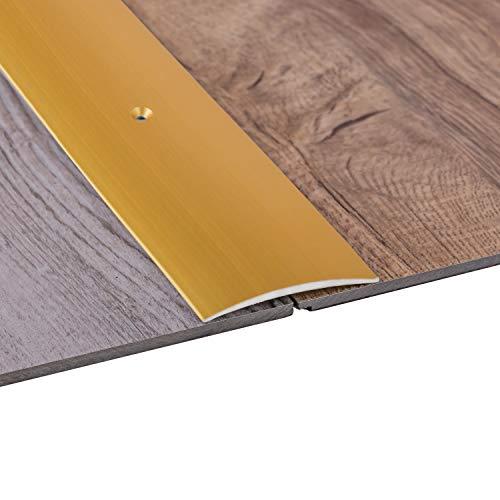 Gedotec Übergangsprofil Laminat - Vinyl Übergangs-Schiene gelocht Bodenprofil gewölbt   Türschwelle zum Schrauben   Alu Messing eloxiert   Profil 50 x 1000 mm   1 Stück - Ausgleichsprofil Aluminium